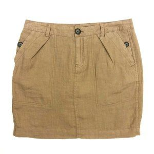 NWT Gap 100% Linen Utility Skirt. Khaki. Size 6.